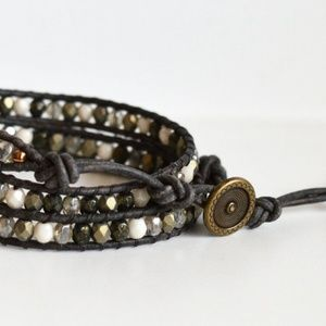 Jewelry - Glass Bead Gold White & Black Triple Wrap Bracelet